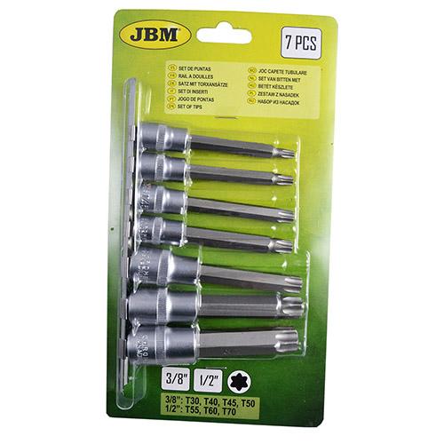 """JBM Blister con guía de 7 puntas torx de 3/8"""" y 1/2"""" 53084"""
