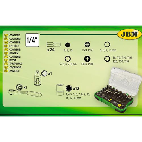 """JBM Estuche de 37 piezas con carraca mini de 1/4"""" 53156"""