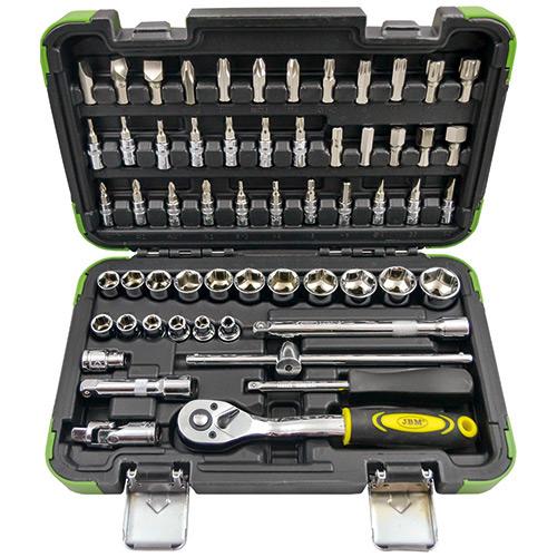 """JBM Estuche de herramientas 3/8"""" de 59 piezas con vasos hexagonales 53219"""