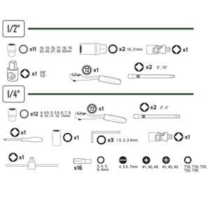 JBM Estuche de herramientas 61 piezas vasos spline de 1/2″ y 1/4″ – 53108
