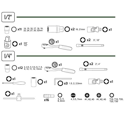 """JBM Estuche de herramientas 61 piezas vasos spline de 1/2"""" y 1/4"""" 53108"""