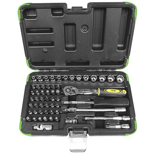 JBM Estuche de herramientas con 56 piezas con vasos de 12 cantos 53102