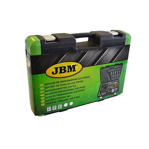 JBM Estuche de herramientas de 216 piezas con vasos hexagonales cromado 52840