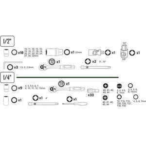 JBM Estuche de herramientas de 74 piezas con vasos de 12 cantos – 53074