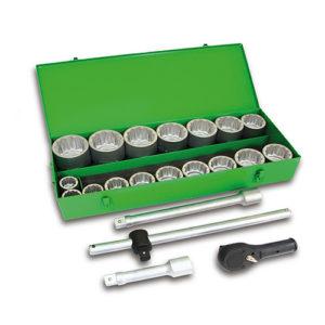 JBM Estuche metálico con 22 piezas de autoclé de 1″ en 12 cantos – 51855