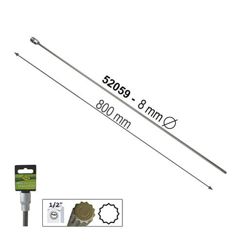 """JBM Punta extralarga de 12 cantos de 800mm de 1/2"""" 8mm 52059"""