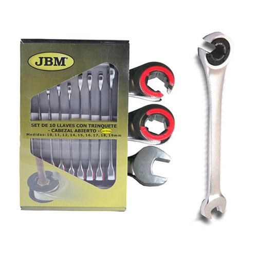 JBM Set 10 llaves hex. combinadas con trinquete de cabezal abierto 51840