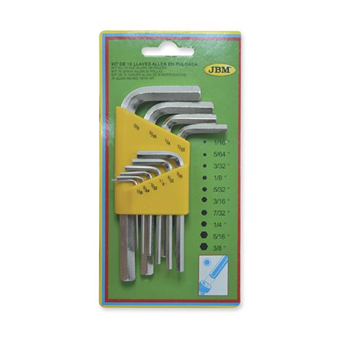 JBM Set de 10 llaves allen en pulgada 51970