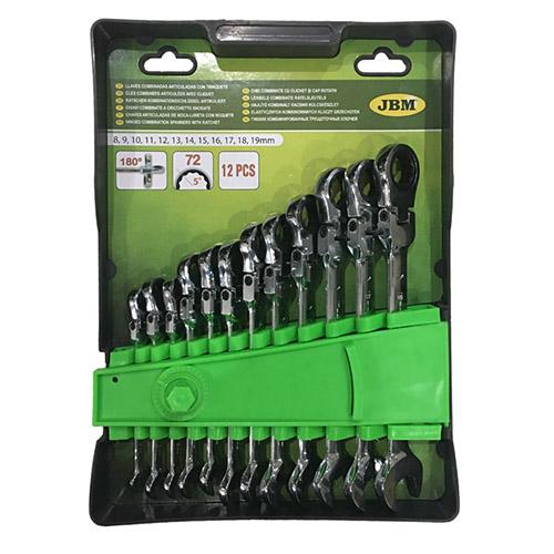 JBM Set de 12 llaves combinadas articuladas con trinquete 51318