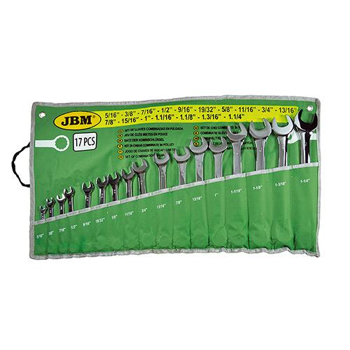JBM Set de 17 llaves combinadas en pulgada - acabado brillante 52972