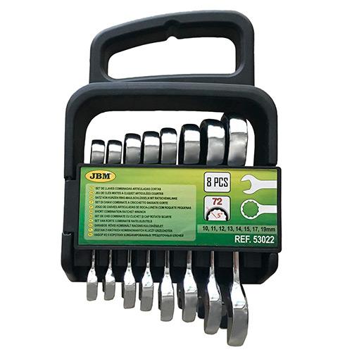 JBM Set de 8 llaves combinadas cortas con trinquete 53022