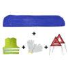 JBM Kit emergencia bolsa azul mini + 2 triángulos + chaleco +guantes 53173