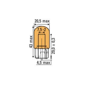 JBM Lámpara OBN 12v sin casquillo t20 ámbar – 52370