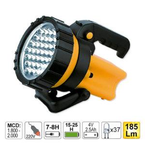 JBM Linterna de mano de 37 LEDs con batería recargable, asa y mango giratorio – 52002
