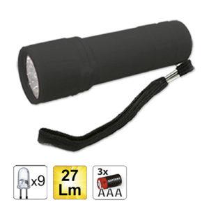 JBM Linterna plástica 9 LEDs – negro – 52558