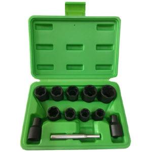JBM Set de vasos twist de 3/8″ para extracción de tuercas / tornillos de seguridad 6-19mm – 52962