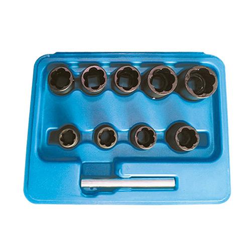 """JBM Set de vasos twist de 3/8"""" para extracción de tuercas / tornillos de seguridad 51998"""