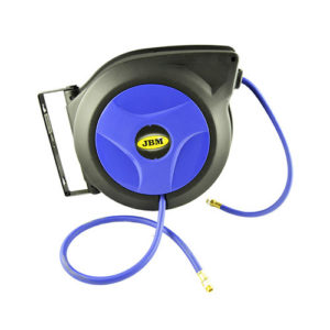 JBM Carrete de manguera de aire 12m – boca de 3/8″ azul – 52755