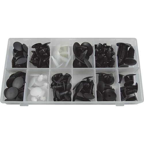 JBM Estuche de clips plásticos universal 128 piezas 52888